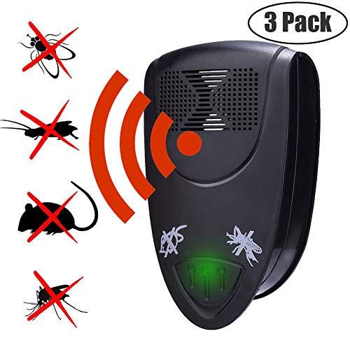 GLXQIJ Ultraschall-SchäDlingsbekäMpfer Plug In Mit LED-Nachtlicht, Elektronische SchäDlingsbekäMpfung FüR Nagetiere Und Insekten Nagetiere,Black,3Pack -