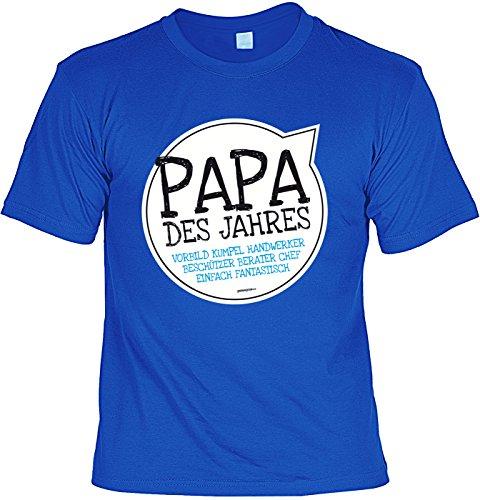 Vatertags T-Shirt - Papa des Jahres - Vorbild - Kumpel - Beschützer - Berater - Chef - cooles Shirt mit lustigem Spruch als Geschenk für Väter mit Humor Royalblau