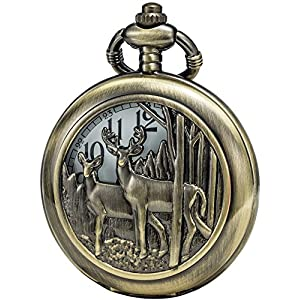 SEWOR Bronze Fall Japan Quarz-Uhrwerk Taschenuhr mit doppelter Kette (Metall & Leder)