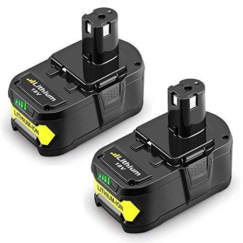 ithium-Ionen Ersatzbakku für Ryobi ONE + RB18L50 RB18L40 RB18L25 P108 P107 P122 P104 P105 P102 P103 mit LED-Anzeige ()