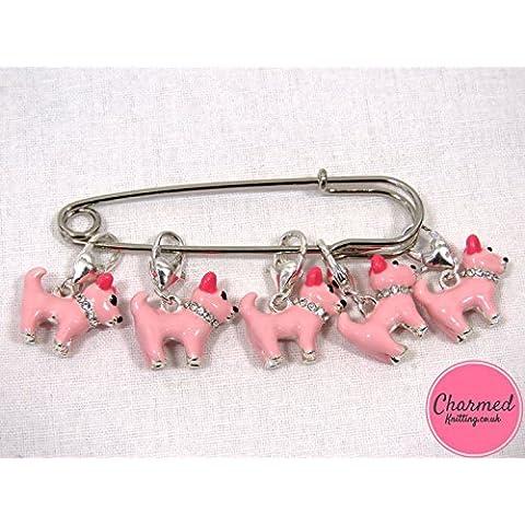 Juego de 5 marcadores de punto de ganchillo, plateados, diseño de perros rosas, regalo perfecto para los amantes de