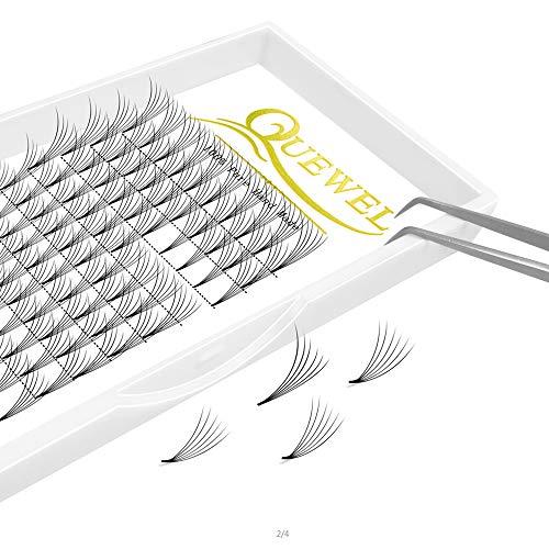 Quewel lash 6d - extension per ciglia, a ventaglio corto