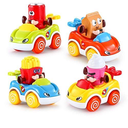 VATOS Kleinkind Spielzeugautos Cartoon drücken und loslassen Spielzeug Autos Kinder Spielzeug Set Reibungsbetriebene Fahrzeugen zur Frühförderung für 1,5-4 Jahre alte (4 Spielzeug Einzigartige Für Jährige)