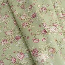 Tela (venta por metros, algodón), diseño de rosas retro, color verde
