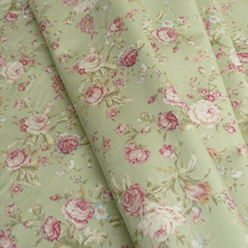 Dusky Rosa Rosa Blumen woven Baumwollpopeline Kunstdruck vintage style salbei grün Stoff - Meterware - Salbei Baumwolle Stoff