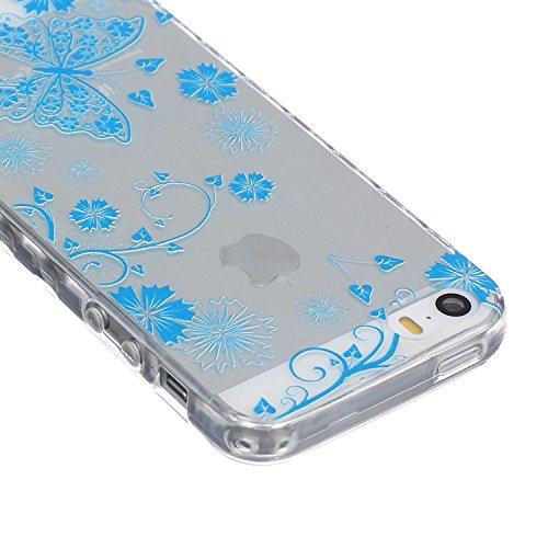 SainCat Custodia iPhone 5 / 5S / SE,Fashion Design Ultra Slim Morbido Flessibile Trasparente Soft TPU Gel Silicone Thin Painting Case Caso Cover,Clear Sottile Copertina Antiurto Protecttivo Shell Cabi Farfalla Blu