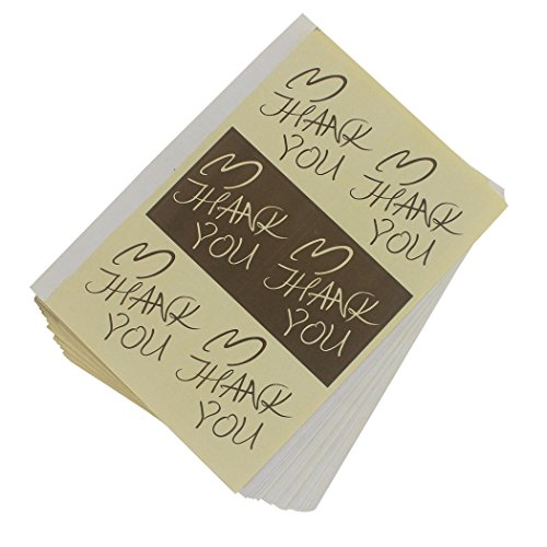 Zoohot 1,65 * 1,65 pulgadas papel natural Gracias pegatinas Con la etiqueta adhesiva del corazón (Juego de 300)