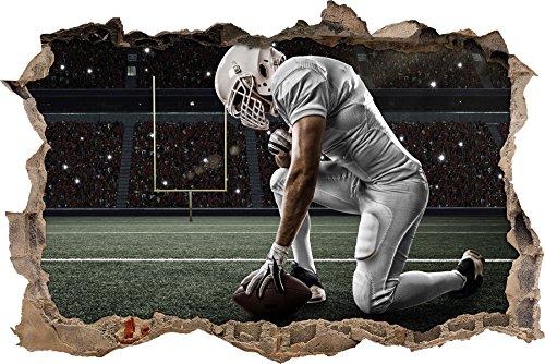 knieender Football-Spieler Wanddurchbruch im 3D-Look, Wand- oder Türaufkleber, Wandsticker, Wandtattoo, Wanddekoration