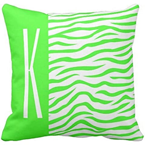 Neon Green & White Zebra Stripes Animal Print Throw pillow case 22*22 - Green Zebra Animal Print
