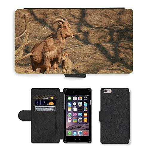 Just Mobile pour Hot Style Téléphone portable étui portefeuille en cuir PU avec fente pour carte//m00138510Capricorne Nature Animaux Animal//Apple iPhone 6Plus 14cm