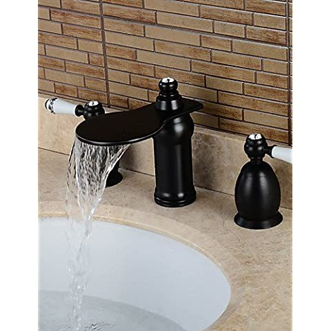kissrain® separados tipo dos asas Oil-rubbed bronce cuarto de baño para lavabo grifo–negro
