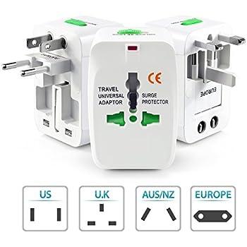 Hi-PLASST Universal International World Wide Travel Adapter Plug (Europe/UK/US/China/India) All in One Universal Travel Adapter Plug Surge Protector (White)
