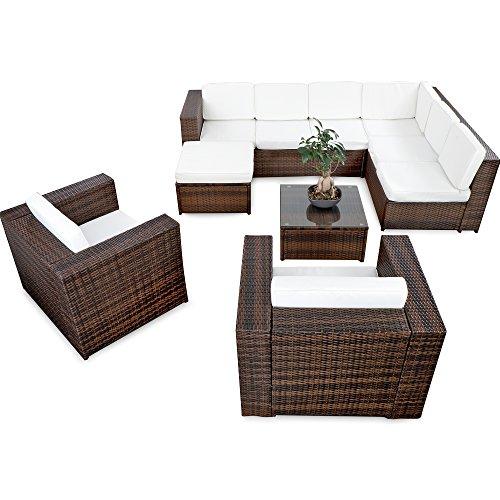 XINRO® 25tlg. Deluxe Lounge Garnitur Set Gruppe Polyrattan Sitzgruppe Gartenmöbel Loungemöbel + 2X Lounge Sessel - Rattan Garnitur Sitzgruppe - In/Outdoor - handgeflochten - braun