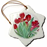 3dRose orn_55580_1 Bunch of Red Tulips Bunch of Flowers, Bouquet of Tulips Snowflake Ornament, Porcelain, 3-Inch