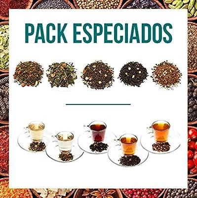 Aromas de Té - Paquet contient du thé vert épicé Arcoiris + Pu Erh thé rouge saveurs de l'Orient + Noir + blanc pakistanais Thé Pai Mu Tan Nuits Blanches + Infusion Rooibos Chai