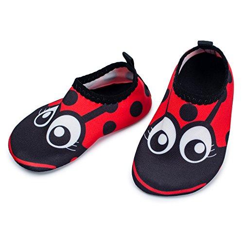 JIASUQI Unisex Baby Wasser Schuhe für Schwimmbad Schnorcheln Strand Laufen Walking Surfen Yoga, Schwarze Augen 0-6 Monate
