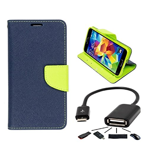 Online Street Quality Flip With OTG Cable For Xiaomi Redmi Note 4G- (Blue Flip + OTG)