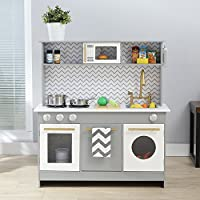 Teamson Kids TD-12681A Berlin Play Kitchen, Grey/White