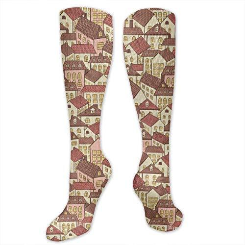Cool Tiled Roof Urban Architecture City Life Personality Fun Pattern Fashion Socks Men's and Women's Socks Polyester Cotton Dress Socks Length 19.68