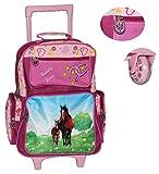 hochwertiger Trolley - 5 Fächer - Pferde / Pony lila - für Kinder - Handgepäck - Stoff Trolly Kindertrolley - Gummirollen - wasserabweisend - Mädchen - Eulen Blumen Koffer / Reisekoffer