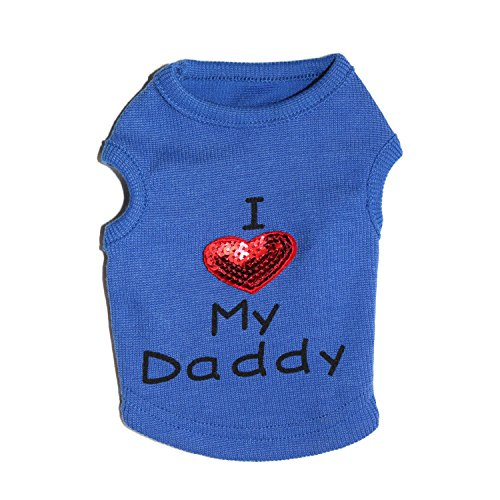 Petall Hund Shirts I Love My Mom/Mama Dad/Papa Kleidung Doggy Slogan Kostüm Cute Herz Weste Kleine Hunde Puppy T-Shirt, M, Blue-D (Cool Dad Kostüm)