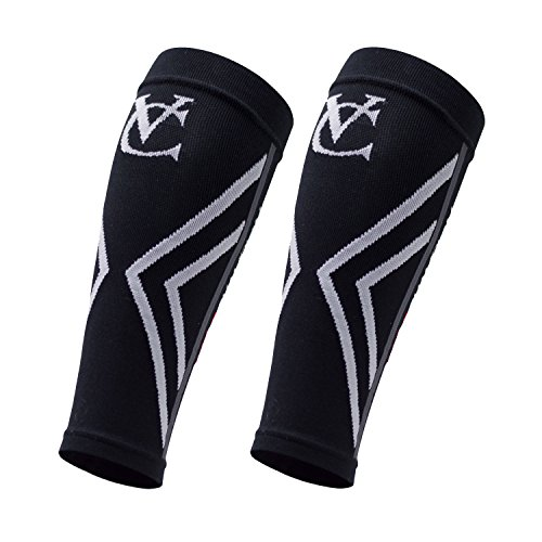 VeloChampion Compression Calf Guards/Sleeves (Black – Large) – For Running, Cycling, Triathlon.
