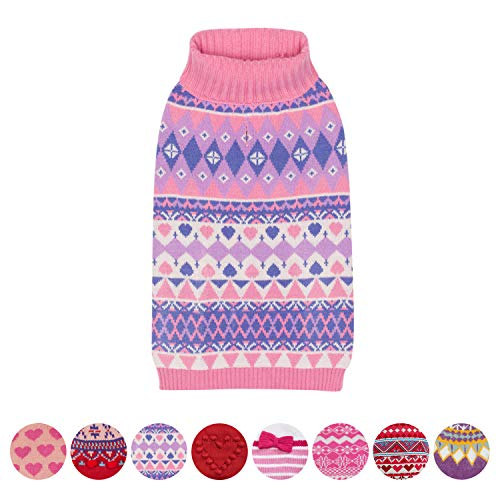 Blueberry Pet Lebhaftgetönter Süße Winterblüten Designerpullover Hundepulli in Nelke-Pink und Flieder, Rückenlänge 36cm, Einzelpackung Bekleidung für Hunde