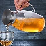 iBaste Teekanne Glas Teebereiter 1800 ML mit Abnehmbare Edelstahl Abdeckung Explosionsgeschützt und Hitzebeständig Saftflaschen für Hotel Restaurant