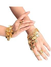 Lucky Will triángulo de danza del vientre moneda pulsera Gypsy joyas muñeca brazalete anillo para las mujeres niñas