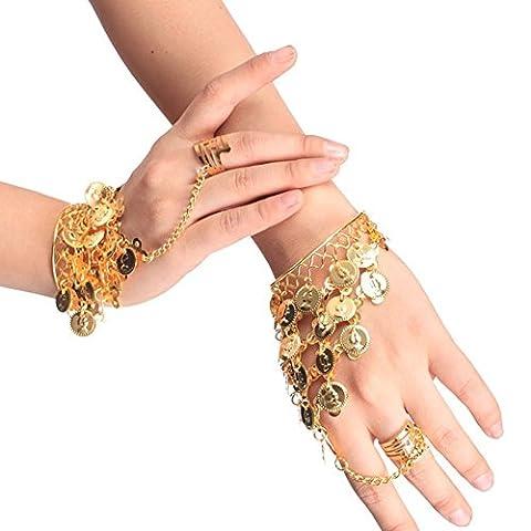 Fletion 1 Paar Bauchtanz Armbänder Ring Retro Bracelet Handgelenk Arm Kostüm Schmuck (Designer Bauchtanz Kostüme)