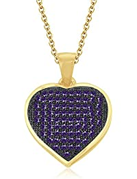 """Silvernshine 1.20 Ct Pave Set Amethyst Heart Pendant With 18"""" Chain 14K Yellow Gold Fn 925 Silver"""