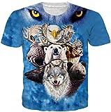 Loveternal Unisex Animal 3D Impreso T-Shirt Cool Manga Corta Camiseta Azul S