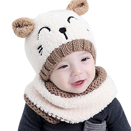 Kfnire bebé Sombrero y Bufandas, otoño Invierno niños niñas Lana Punto Gorras...