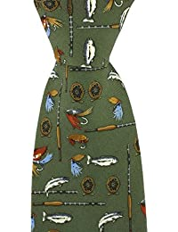c7b63b6fa80d Soprano green colour Silk Tie adorned with various fly fishing images such  as flies, rods