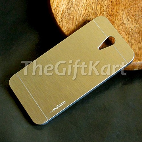 TheGiftKart Motomo Premium Brushed Metal Hard Back Case Cover for HTC Desire 620 Dual 620G Dual - Golden