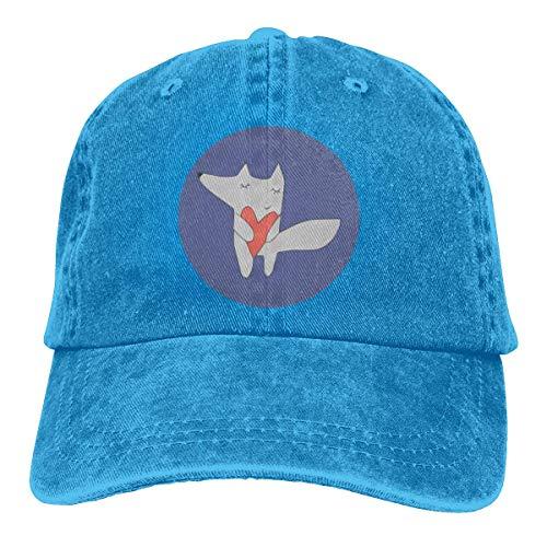 Hoklcvd Fox in Love Blue Unisex gewaschen einstellbare Vintage Cowboyhut Denim Baseball Caps Unisex22