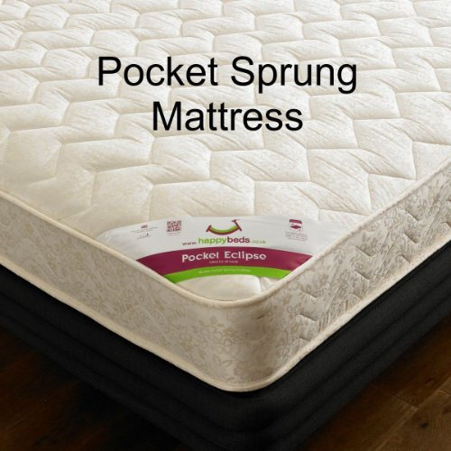 Happy Beds Amelia Sleigh Bed Wooden Stone White Pocket Sprung Mattress 5' King Size 150 x 200 cm