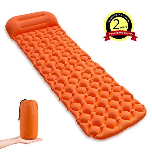 Yuguang tappetino per dormire materassino da campeggio gonfiabile ultraleggero,air pad portatile e pieghevole con cuscino,leggero compatto esterno per assorbire il sudore letto singolo tenda (arancia)