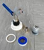 """CMS60133MK992146S Auslauf Kugelhahn S60x6 + Stecker mit + 1/2"""" Schlauchkupplung Schnellkupplung mit Wasserstop passend für Gardena, IBC-Container-Zubehör-Regenwasser-Tank-Adapter-Fitting-Kanister-Fass-Wasser"""