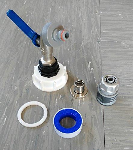 CMS60133MK992146S robinet à boisseau sphérique s60 x 6 m 1/2, raccord avec water stop gardena pour montage rapide, adaptateur conteneur iBC-- --bidon-fût fitting-eAU
