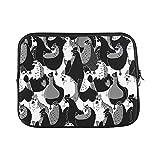 YSJXIM Schutzhülle für MacBook Air 27,9 cm (11 Zoll) (nahtlos, weich, Motiv Vögel und Hühner), Schwarz/Weiß