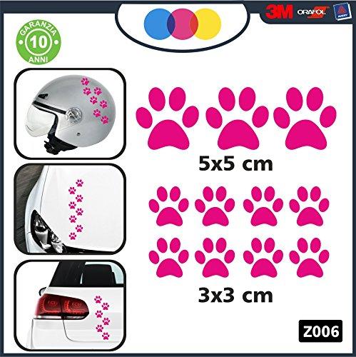 10 zampette adesive ADESIVI PER AUTO MOTO CASCHI - - 3 adesivi 5X5 centimetri - 7 adesivi 3X3 centimetri - AUTO MACCHINA - NOVITà!! auto moto camper, stickers, decal Z-001-7 (FUCSIA)