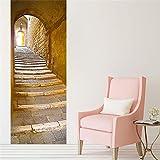 Nachahmung 3d Europäischen stein türaufkleber schlafzimmer wohnzimmer tür renovierung kreative selbstklebende dekorative wasserdichte tür aufkleber