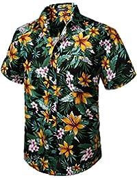 HISDERN Camisas Hawaianas Funky de Manga Corta Bolsillo Delantero Vacaciones de Verano Aloha Impreso Playa Camisa Informal de Hawaii S-2XL