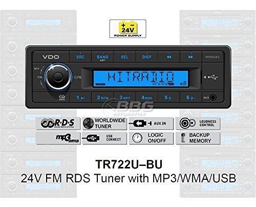 VDO 24 Volt LKW Radio, RDS-Tuner, MP3, WMA, USB, Truck & Bus, 24V TR722U-BU (24 Volt Radio)