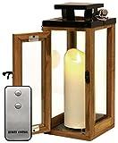 Dekovita Holz-Laterne 30cm Temperglas Gartenlaterne inkl. Tronje 18cm Outdoor LED-Kerze Weiß m. Timer u. Fernbedienung