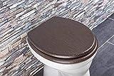 Aquashine® Luxus WC Sitz Holz-Optik | Edelstahl Scharniere | Universal Toiletten Sitz mit Absenkautomatik (Dark Wood)