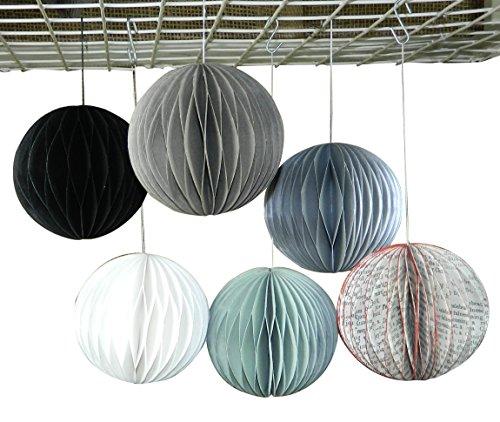 M&N Set mit 6 bunten handgefertigten Pompons aus Papier mit Wabenmuster für Weihnachten, Geburtstag, Hochzeit, Party, Dekoration