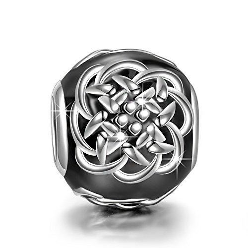 NINAQUEEN Charm für Pandora Charms Armband Schwarz Schmuck für Frauen Silber 925 Emaille Perlen Geschenk für Frauen Mädchen Geburtstagsgeschenk für Frauen Mutter Ehefrau Freundin