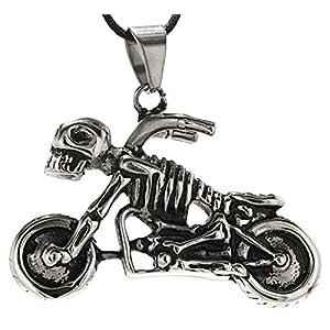 großer Motorrad Anhänger aus Edelstahl mit schwarz-silberner Königskette 4,5 mm